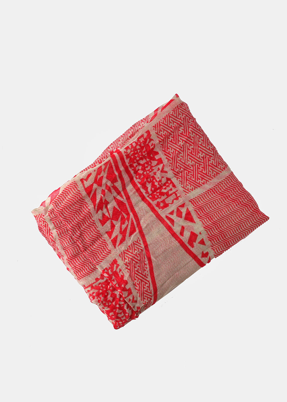 Lightweight Mixed Pattern Scarf- Red