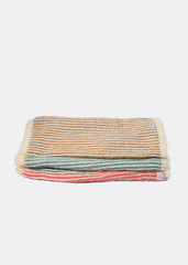 Multi-Color Stripe Knit Scarf- Coral