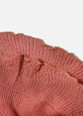 Gold Ruffle Edge Knit Scarf- Pink