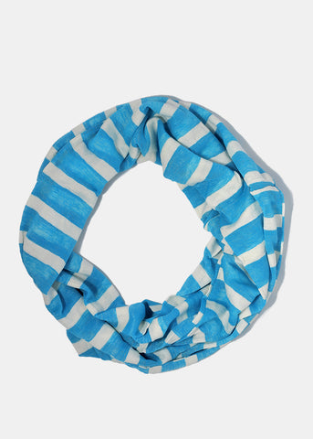 Striped Jersey Infinity Scarf- Blue