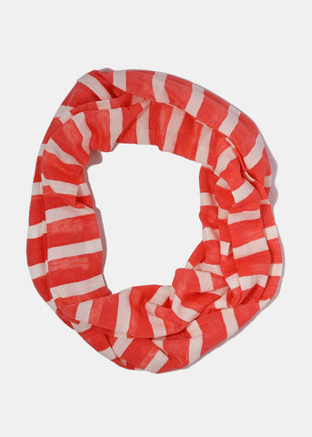 Striped Jersey Infinity Scarf- Coral