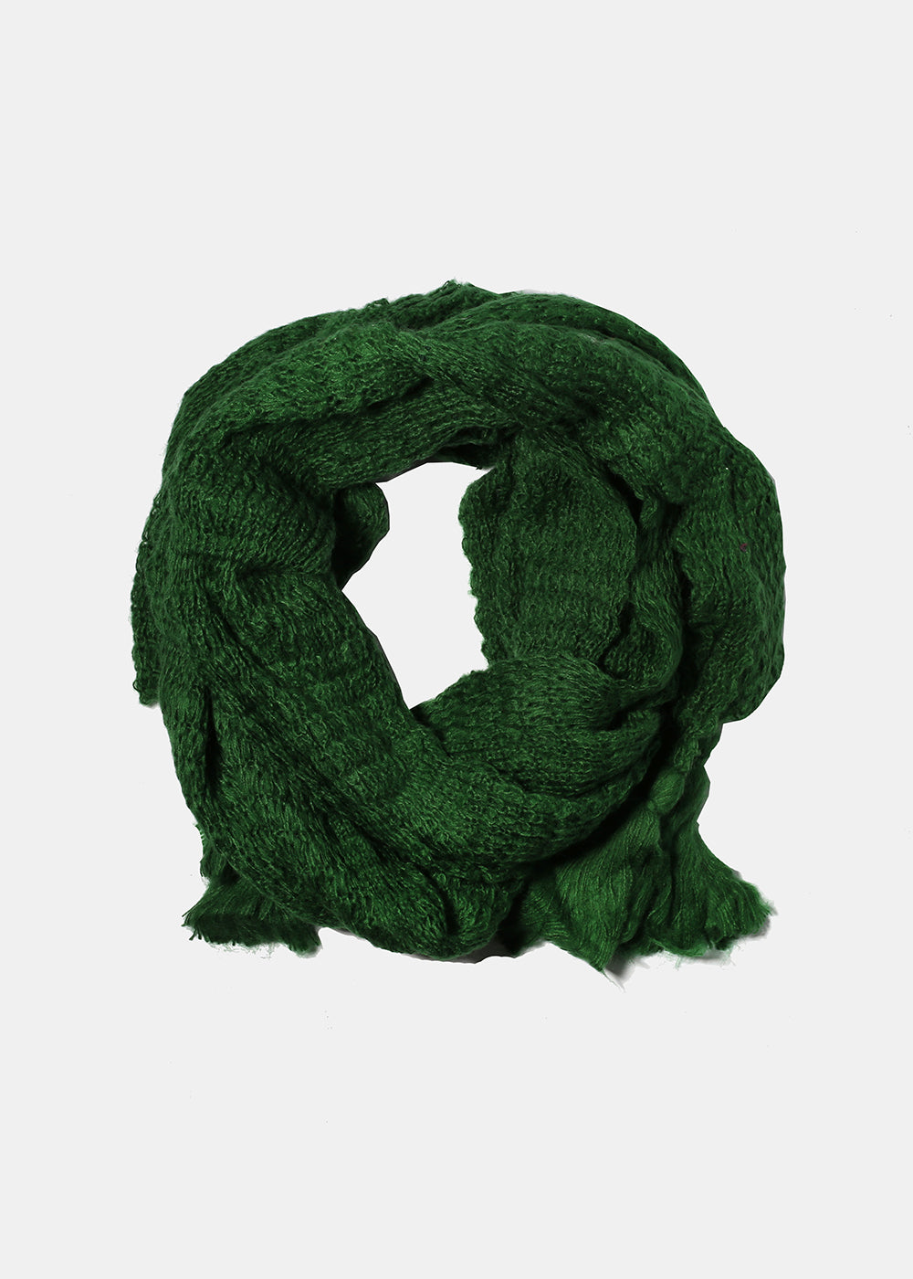 Tassel Knit Scarf- Green