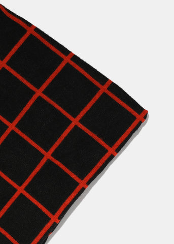 Soft Checkered Infinity Scarf- Black/Red