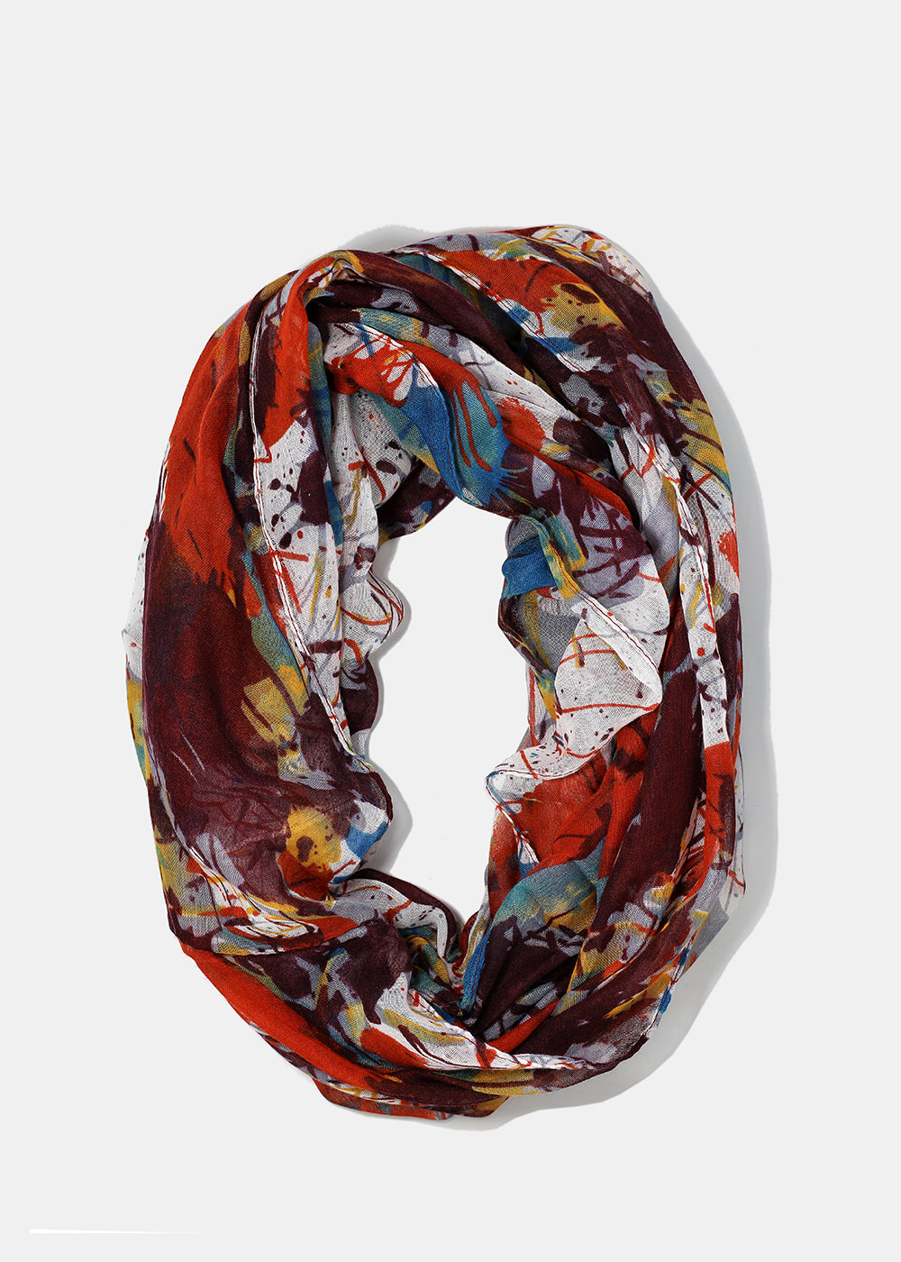 Lightweight Paint Splatter Scarf- Plum