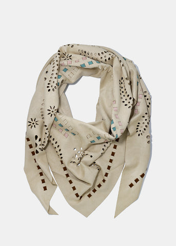 Suede Perforated Scarf- Beige
