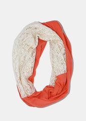 Lightweight Lace Detail Scarf- Pink