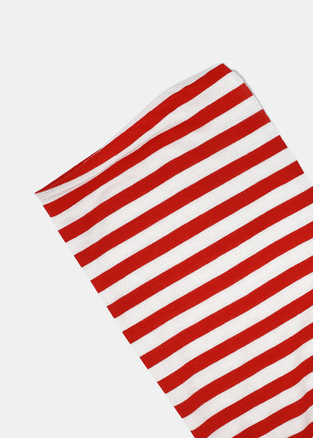 Solid & Striped Jersey Scarf- Red/White