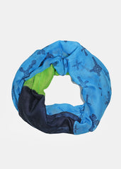 Cross Print Color Block Scarf- Blue
