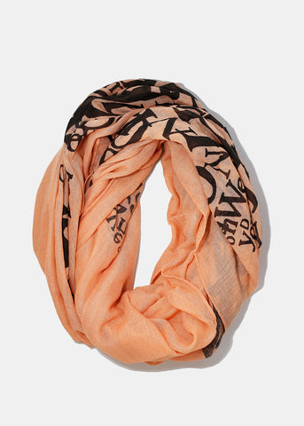 Lightweight Love Print Scarf- Coral