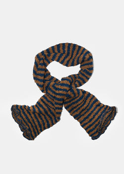 Soft & Fuzzy Striped Scarf- Camel/Teal