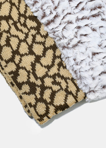 Double-Sided Animal Print Scarf- Brown