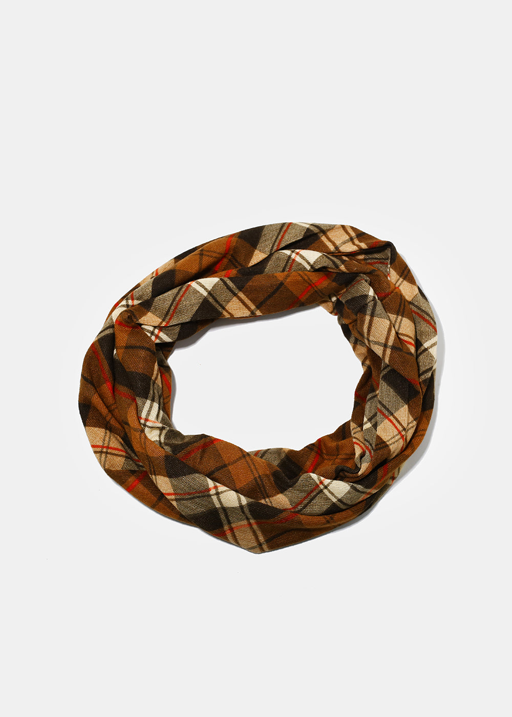 Lightweight Plaid Infinity Scarf- Brown