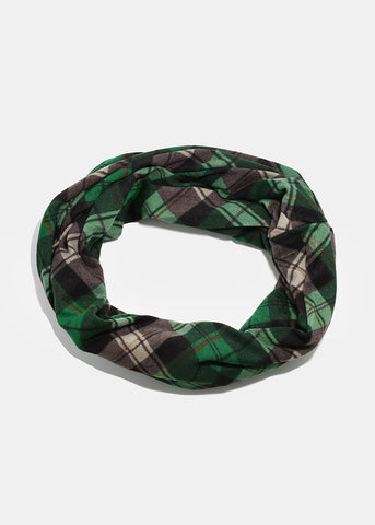 Plaid Infinity Scarf- Green