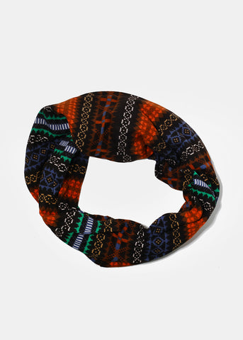 Nordic Print Infinity Scarf- Brown