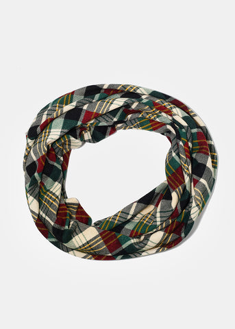 Lightweight Plaid Infinity Scarf- Green