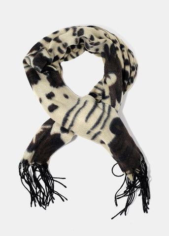 Spotted Floral Print Scarf- Brown