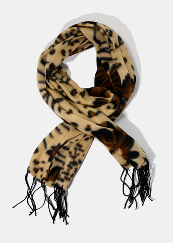 Spotted Floral Print Scarf- Light Brown
