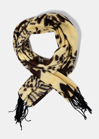 Spotted Floral Print Scarf- Cream