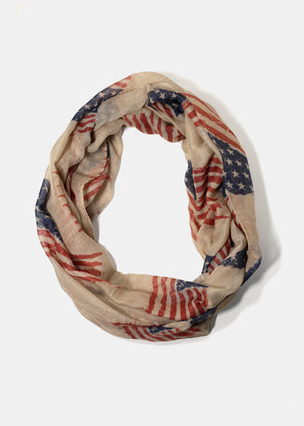 Lightweight US Flag Scarf- Taupe