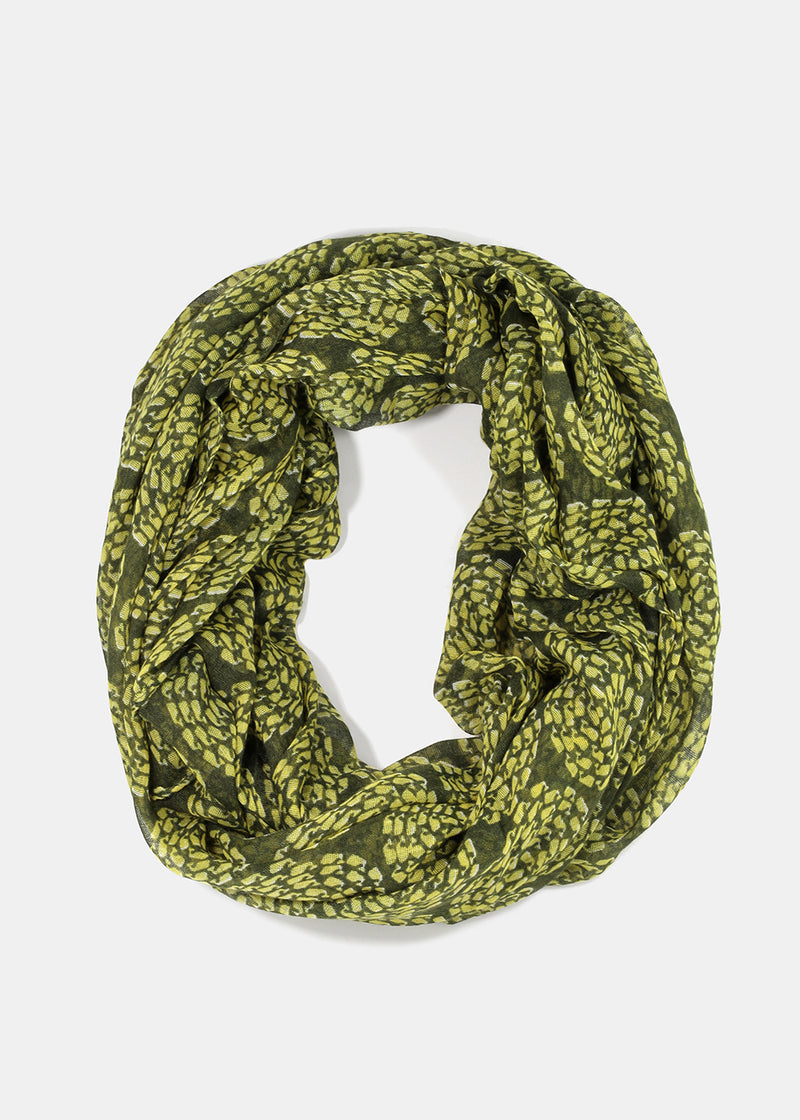 Tiny Whale Swirl Design Scarf - Green