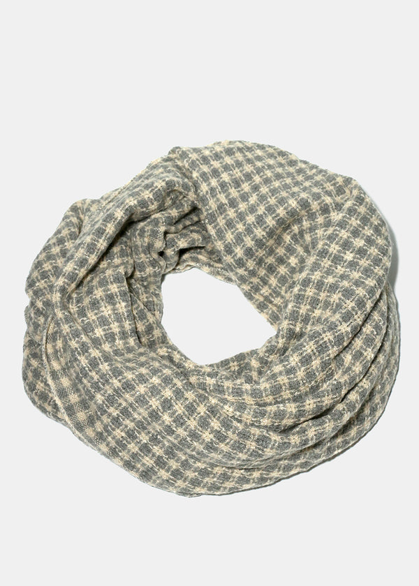Grey Plaid Knitted Scarf