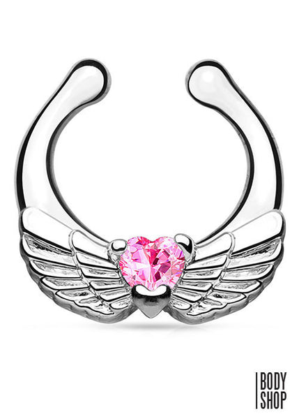 Angel Wings with Heart CZ Non-Piercing Septum Hanger