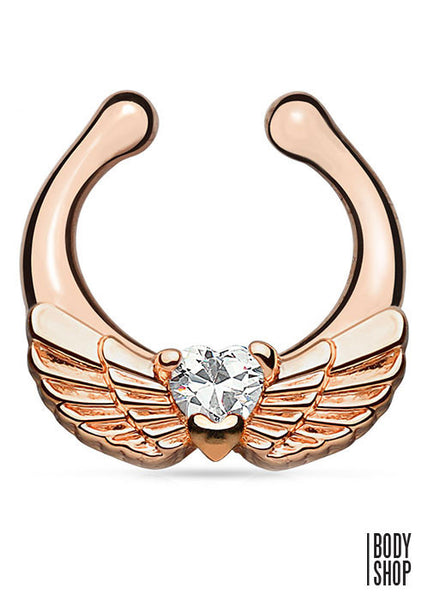 Angel Wings with Heart CZ Gold IP Non-Piercing Septum Hanger
