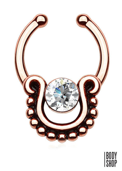 Single CZ with Beaded Trim Non-Piercing Septum Hanger
