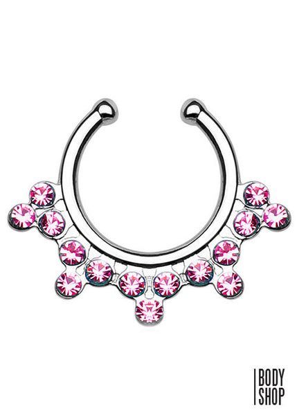 Snowflake with Gems Non-Piercing Septum Hanger
