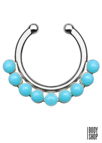 Single Lined Turquoise Color Beads Non-Piercing Septum Hanger