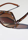 Festival Painted Oversized Sunglasses- Brown