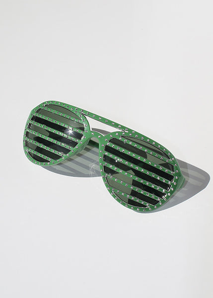 Rhinestone Striped Sunglasses- Green