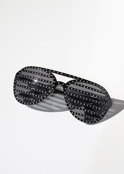 Rhinestone Striped Sunglasses- Black/Silver