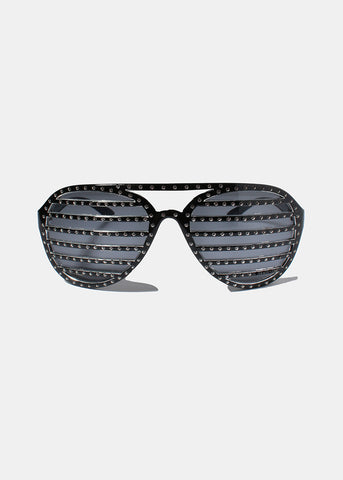Rhinestone Striped Sunglasses- Black