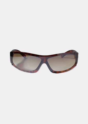 Rectangle Rimless Sunglasses- Brown