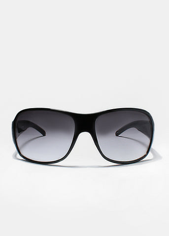 Modern Oversized Sunglasses- Black/Clear