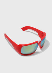 Modern Square Sporty Sunglasses- Red