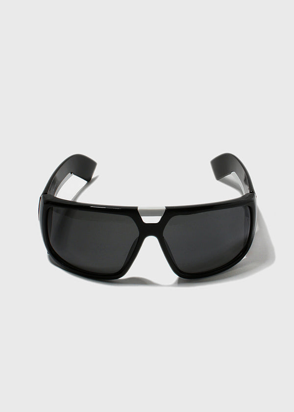 Modern Square Sporty Sunglasses- Black