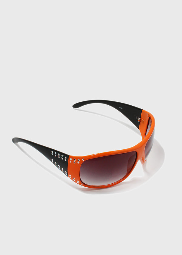 Rhinestone Accent Modern Sunglasses- Orange