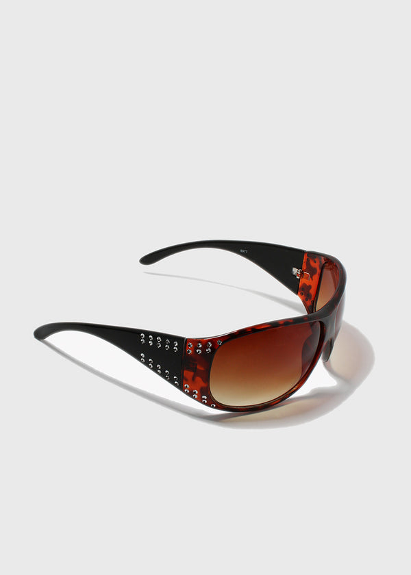 Rhinestone Accent Modern Sunglasses- Brown