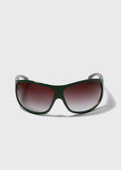 Rhinestone Accent Modern Sunglasses- Dark Teal
