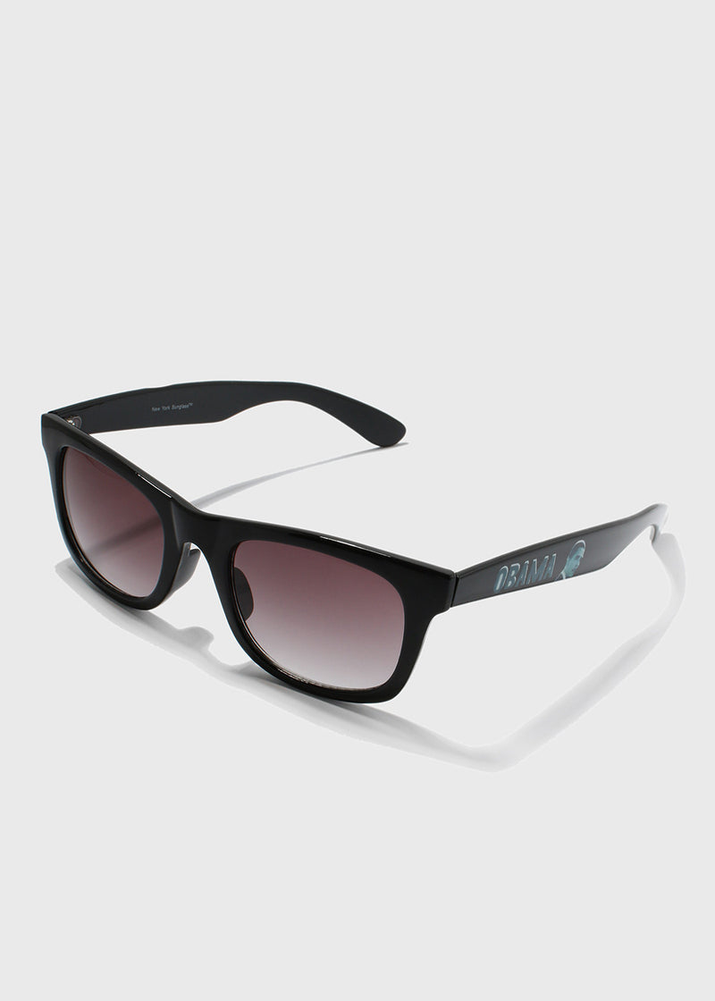 Obama Print Sunglasses- Black/Clear