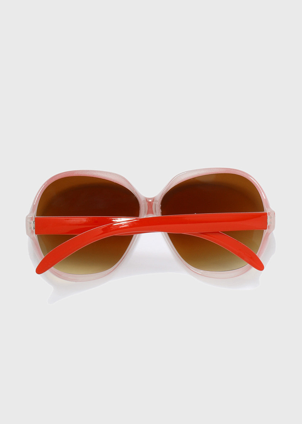Vintage Oversize Round Sunglasses- Red/Clear