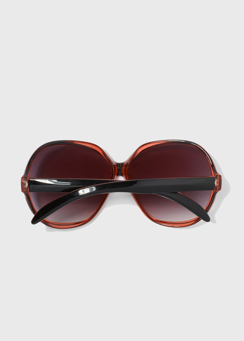 Vintage Oversize Round Sunglasses- Black/Red