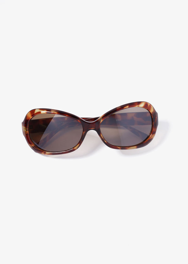Retro Oval Sunglasses- Brown