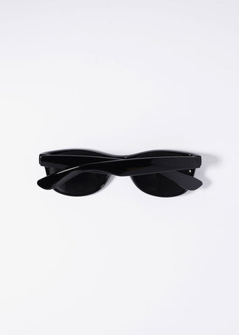 Mirrored Lens Wayfarer Sunglasses- Black