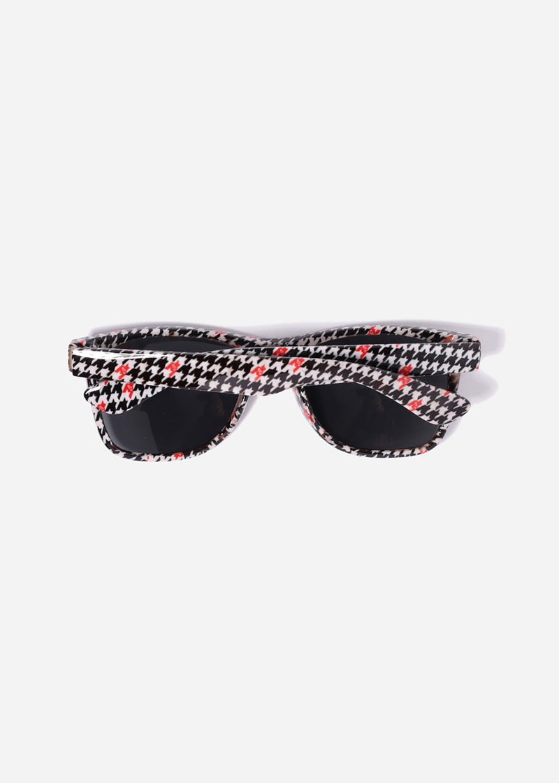 Houndstooth Print Sunglasses- Red