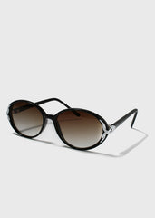 Oval Vintage Design Sunglasses- Black
