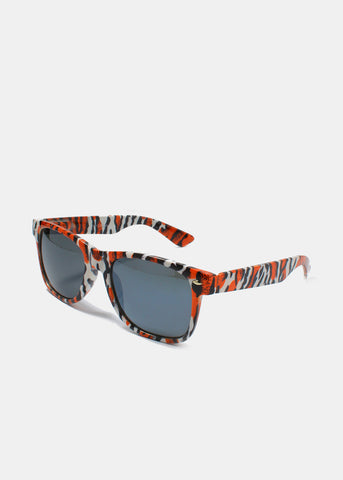 Multi-Color Animal Print Sunglasses- Red