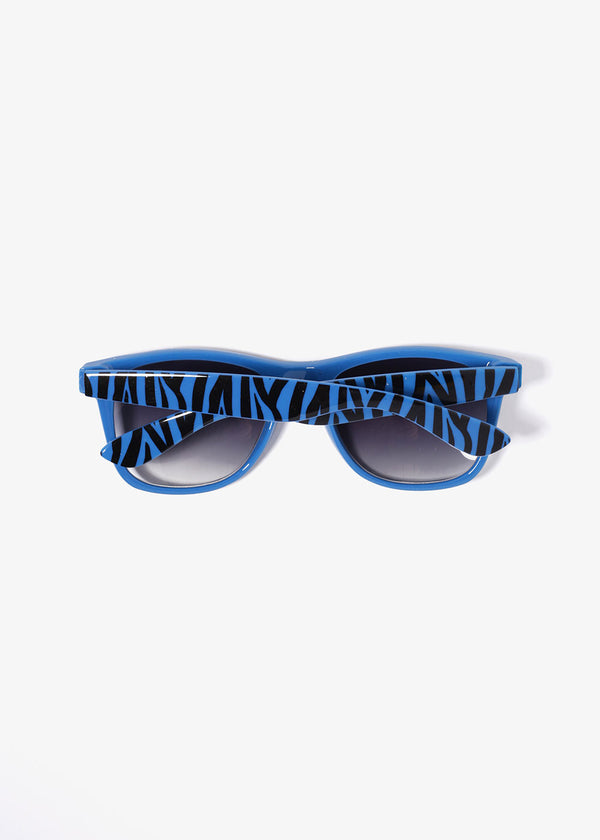 Zebra Print Sunglasses- Blue